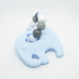 siliconen bijtring blauw olifant